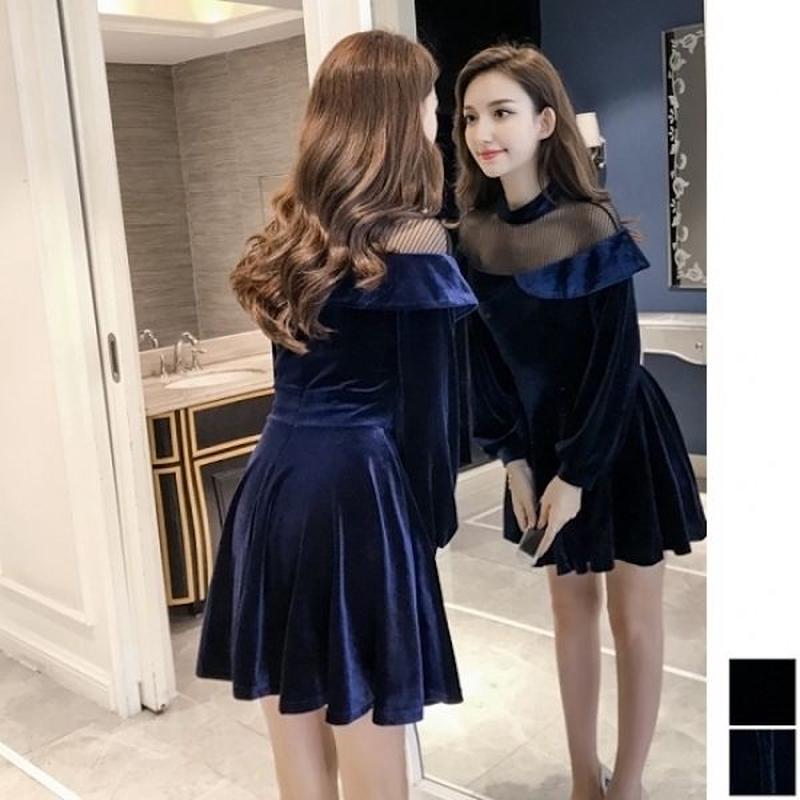 韓国ドレス 韓国ワンピース ベロア生地 上品 シースルー お呼ばれ ナイトシーン FS109101