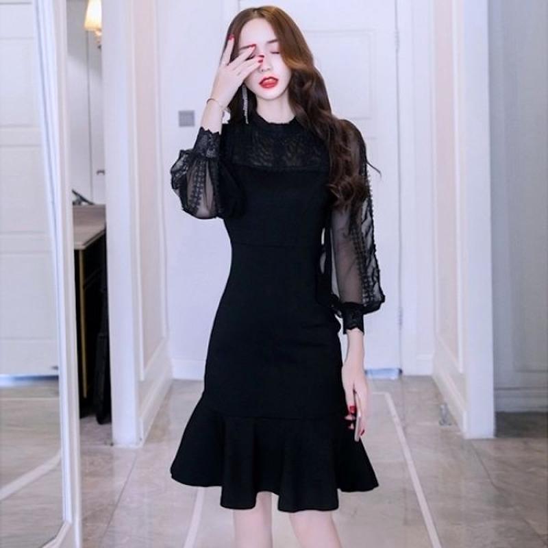 パーティードレス 韓国ワンピース シースルースリーブ 可愛い マーメイドライン 美しい ブラック FS097201