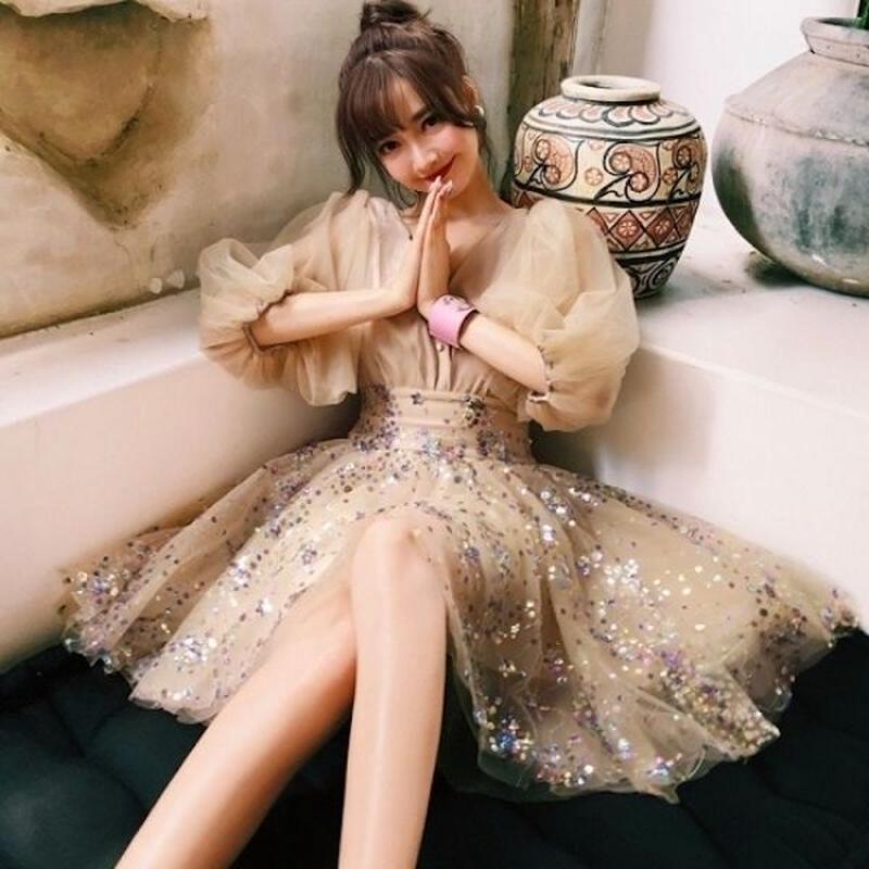 韓国ドレス 韓国ワンピース ボリューム袖 可愛い スパンコール お呼ばれ ディナー FS109201