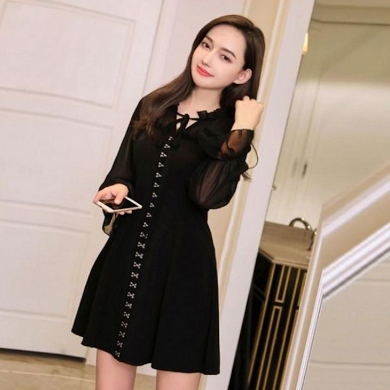 韓国ドレス 韓国ワンピース 首元リボン シースルー 可愛い 大人女子 お呼ばれ FS106401