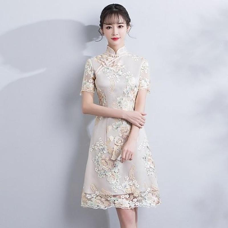 チャイナドレス 花柄刺繍 ハイネック スリム ひざ丈 ワンピース FS066801