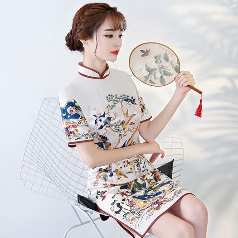 チャイナドレス 花柄刺繍 タイトワンピース 野鳥刺繍 FS067301