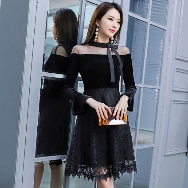 韓国ドレス 韓国ワンピース 花柄レース ネックリボン 可愛い デコルテ セクシー FS108501