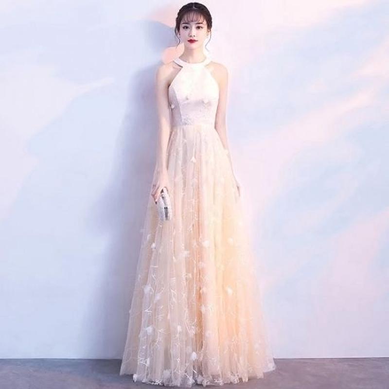 韓国ワンピース ホルターネック ノースリーブ 花柄刺繍 ロングドレス FS067601