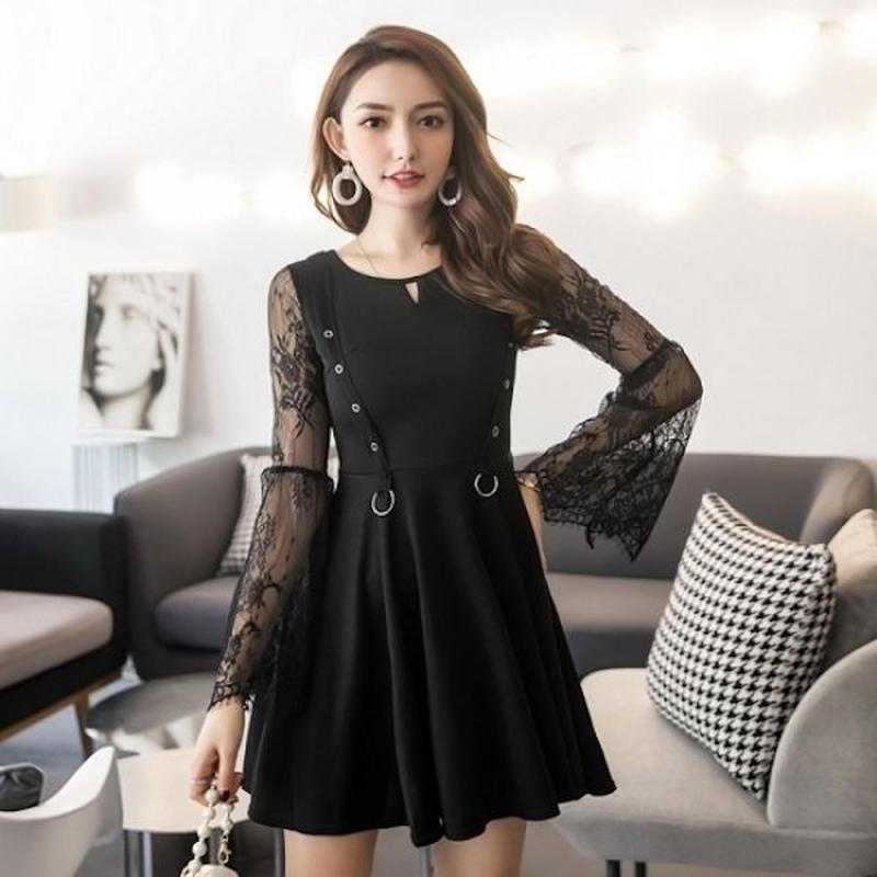 韓国ドレス 韓国ワンピース ボタニカル柄 レース 美しい お呼ばれ 食事会 黒 FS106201