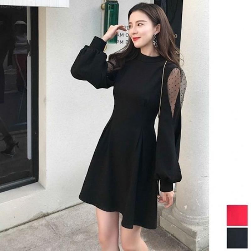 韓国ドレス 韓国ワンピース バックリボン 可愛い パフ袖レース セクシー FS108601