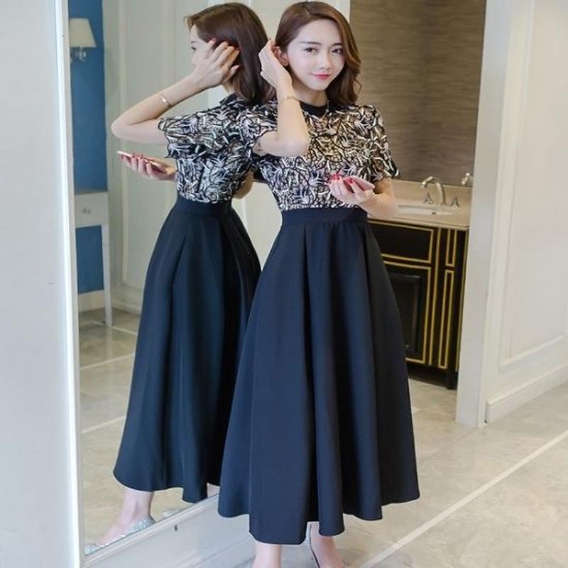 韓国 花柄レース 半袖 ドレスワンピース マキシワンピース ロングドレス ブラック FS032501