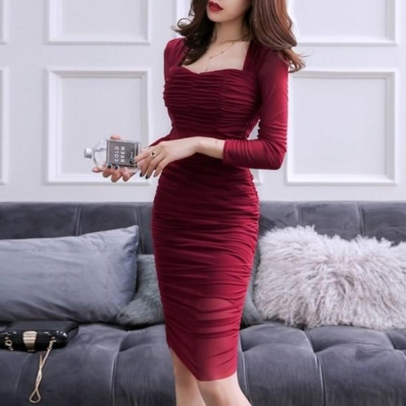 キャバドレス 韓国ワンピース デコルテ セクシー スリム ワインレッド FS096801