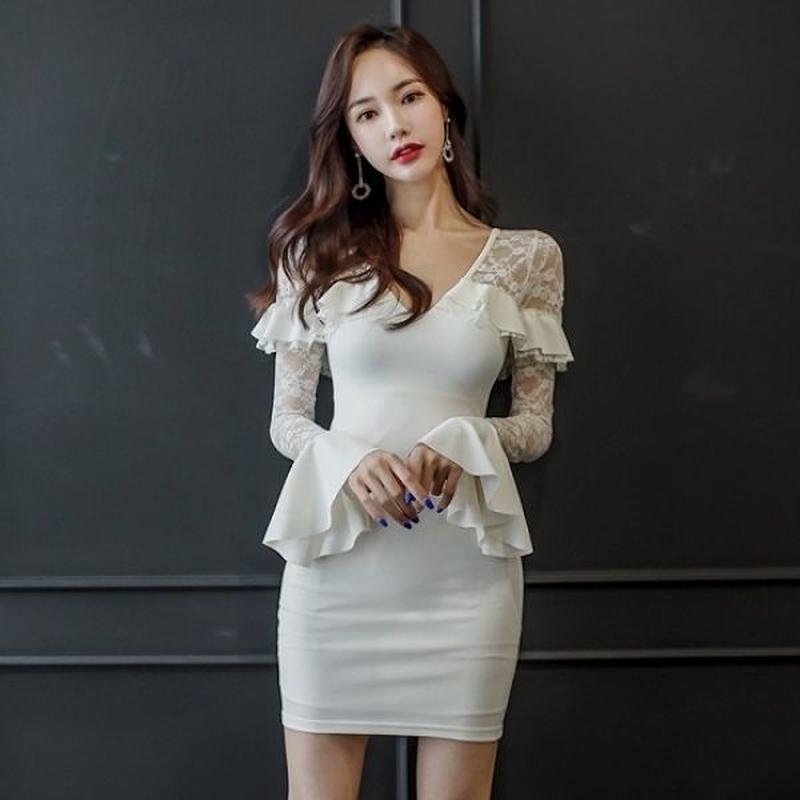 パーティードレス 韓国ワンピース 花柄レース セクシー フリル袖 可愛い 清楚 FS095301