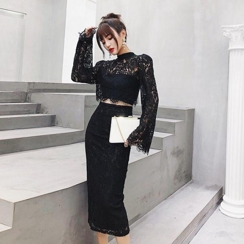 韓国ドレス 韓国ワンピース 総レース セクシー お呼ばれ 結婚式 FS109301
