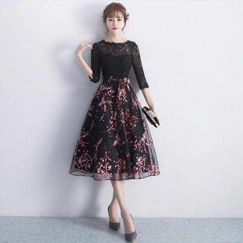 4b0311da295f6 パーティードレス 韓国ワンピース 黒レース 花柄模様 可愛い お呼ばれ 舞台衣装 FS073301