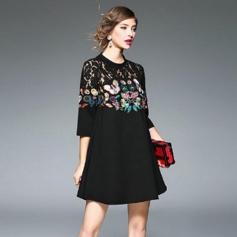 韓国ファッション 蝶 バタフライ 刺繍 黒 ブラック ワンピース 透けレース Aライン スリム タイト FS008201