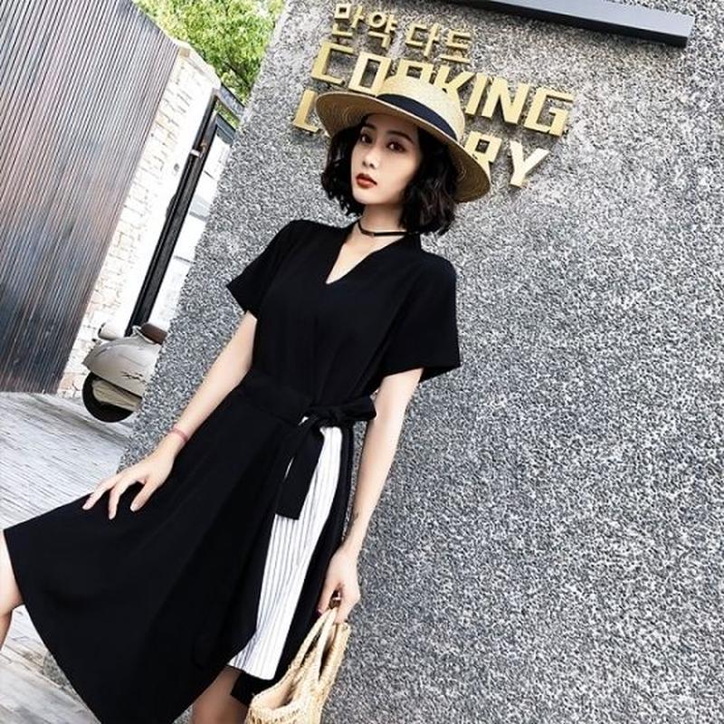 韓国ワンピース ラップドレス ストライプスリット 大人女子 お呼ばれ 食事会 FS110301