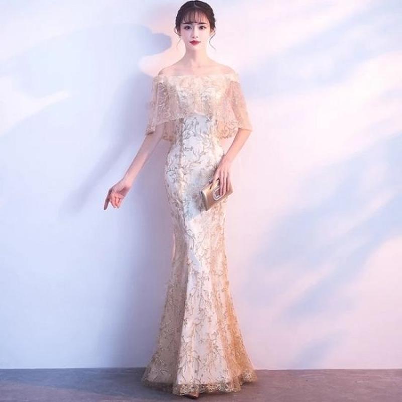 ロングドレス 韓国ワンピース マーメイドライン 花柄刺繍 レース ケープ スリム セクシー FS067701