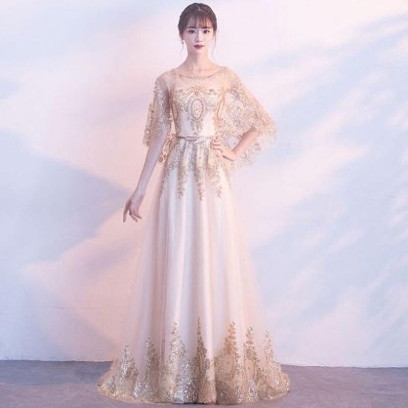 ロングドレス 韓国ワンピース ボタニカル柄レース ゴージャス 結婚式 二次会 発表会 FS068001