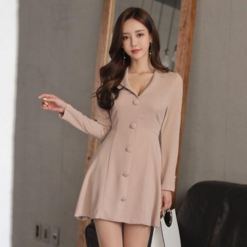 パーティードレス 韓国ワンピース 胸元 セクシー フロントボタン 可愛い お呼ばれ FS094901