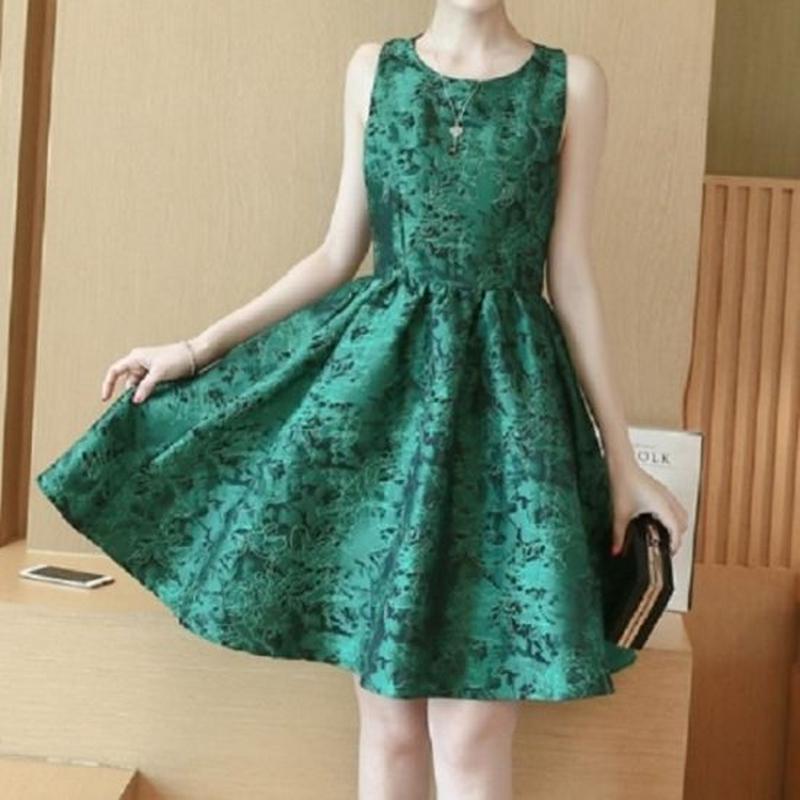 パーティードレス ワンピース ノースリーブ エメラルドグリーン 韓国ファッション 緑 花柄 FS007501