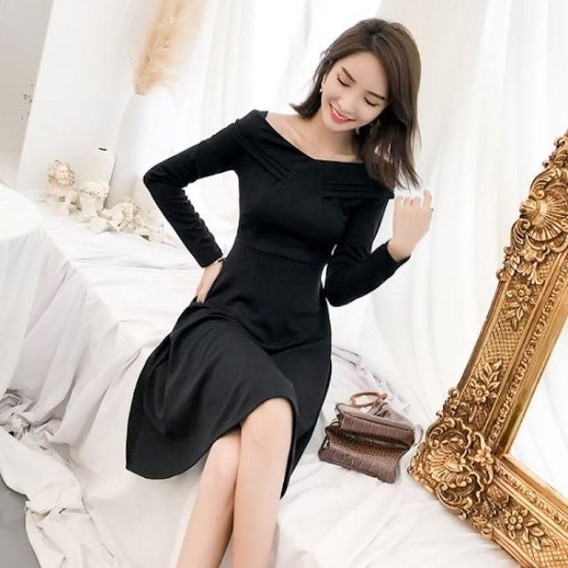 韓国ワンピース 韓国ドレス デコルテ セクシー オフショルダー ナイトシーン FS105001