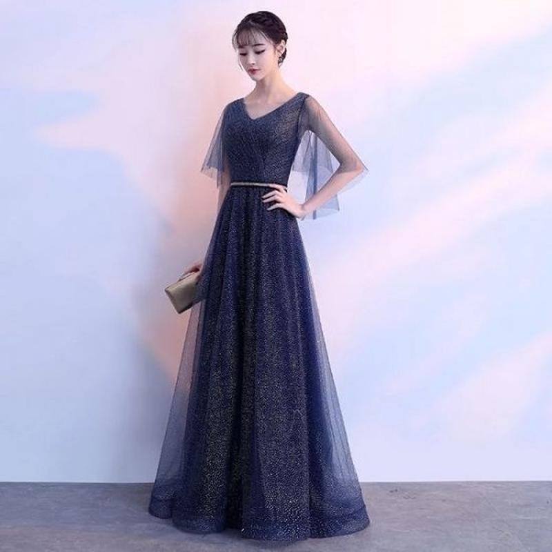 韓国ワンピース ロングドレス カシュクールデザイン Vネック お呼ばれ FS067401