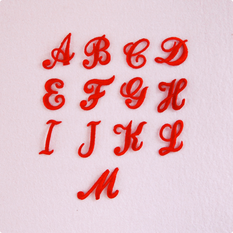 アルファベットワッペン(筆記体) / レッド
