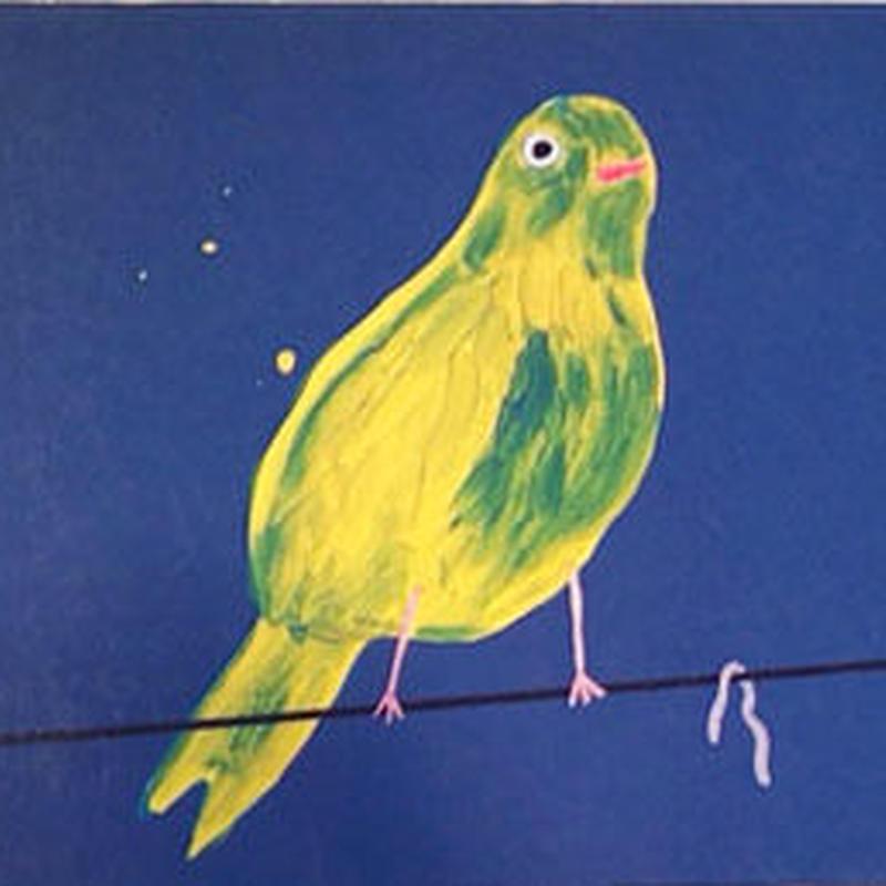yellow birds with worm / David Shrigley