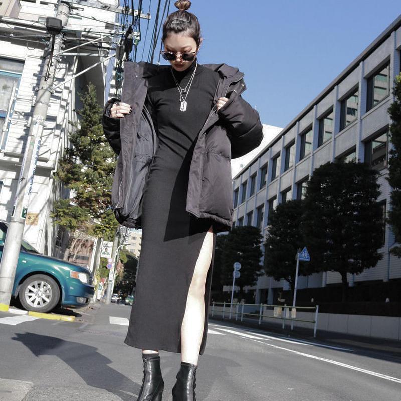 【LR0045】リブスリットワンピース (ブラック)