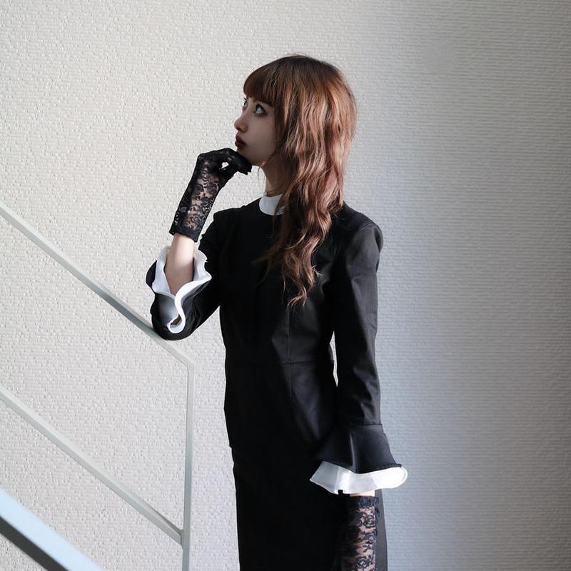 【LR0013】袖フリルワンピース