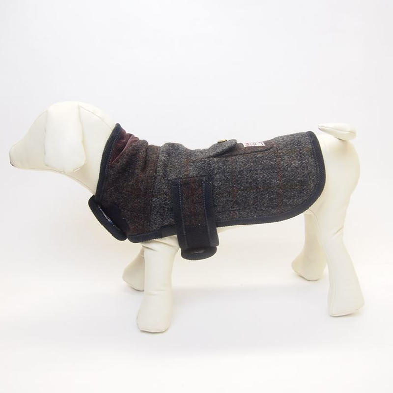 DOG COAT HarrisTweed/LIBERTY BROWN/GREY SIZE S