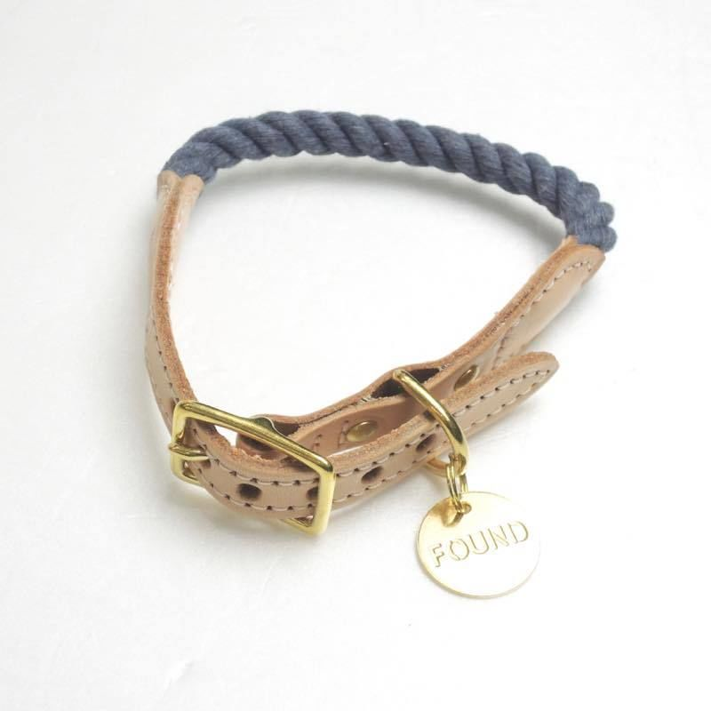 Found My Animal Rope Cat&Dog Collar(Blue Jean/up-cycled)