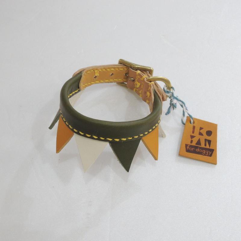 ikoyan for doggy/Garland Collar FLAG (GRN×YLW×WHT) サイズXS