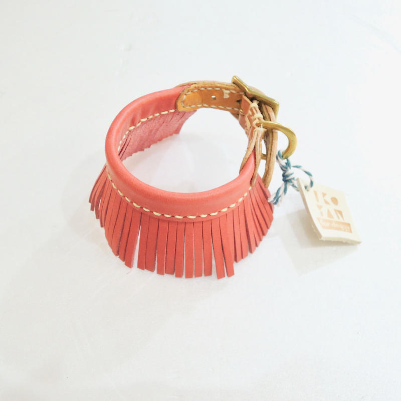 ikoyan for doggy/Garland Collar FLINGE (PINK) サイズXS