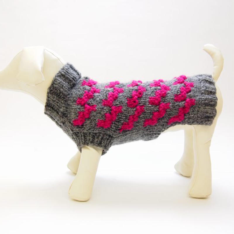 Ware Of The Dog  DOGSTOOTH SWEATER GREY/PINK