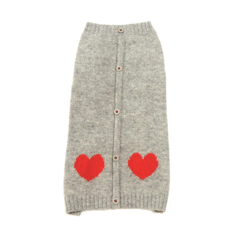 Ware Of The Dog HEART CARDIGAN GREY/RED