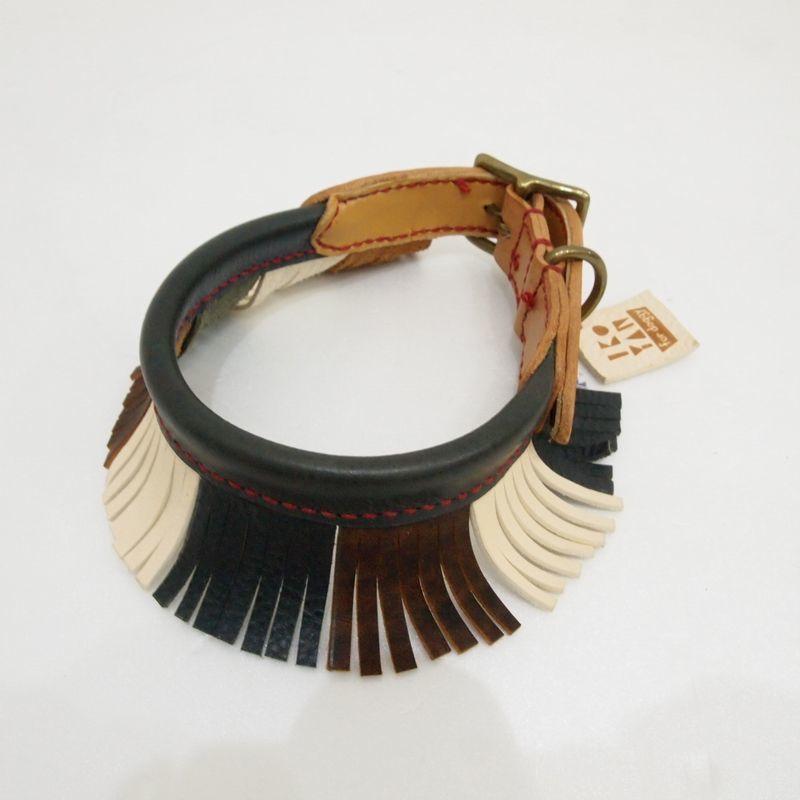 ikoyan for doggy/Garland Collar FLINGE (BLK×BRN×WHT) サイズ L