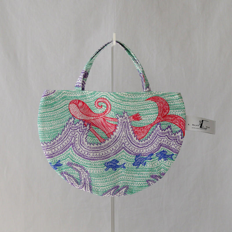 MINI R TOTE            -LITTLE OCEAN- (EMERALD GREEN)