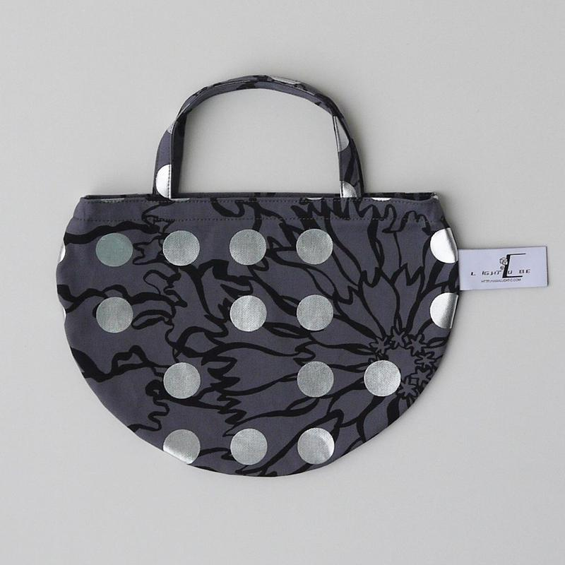 MINI R TOTE           -BUBBLE FLOWER- (SILVER)