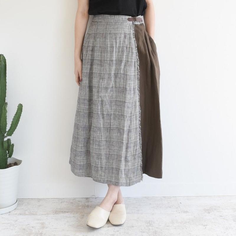 【kittle キトル】リネンチェック巻きスカート  sk0012