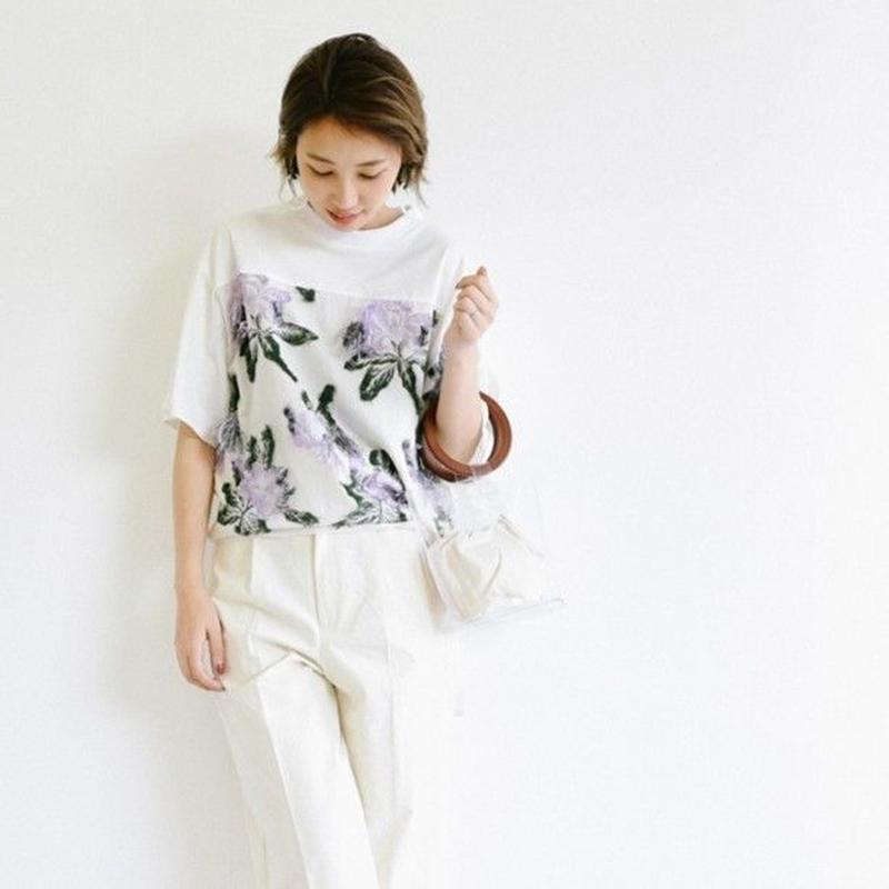 【kittle キトル】花柄カットジャガードTシャツ