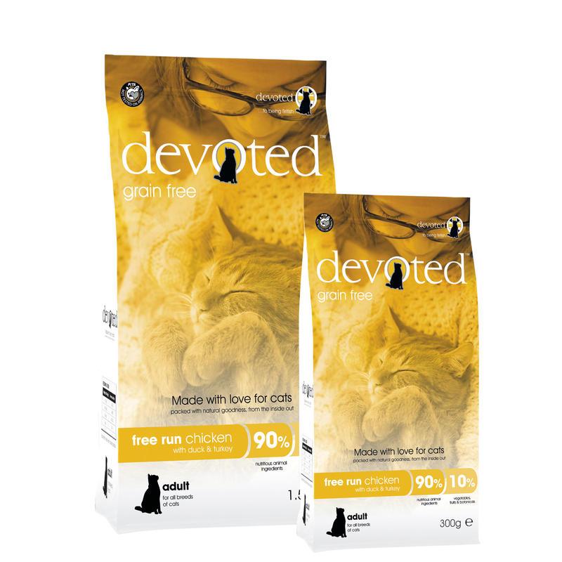 イギリス発 プレミアム キャットフード デボーテッド (DEVOTED) フリーランチキン アヒル & ターキー入り グレインフリー 猫用 1.5kg