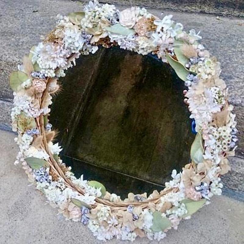 【限定一点】Lilaf お花のリースミラー大 white