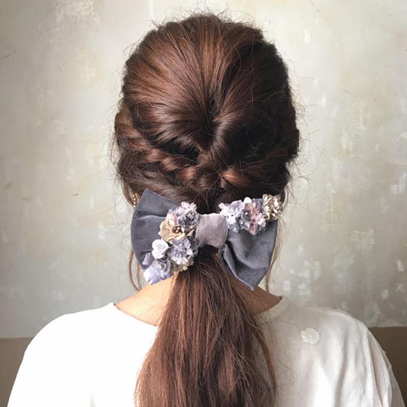 【限定】Lilaf リボンとお花のヘアゴム grey