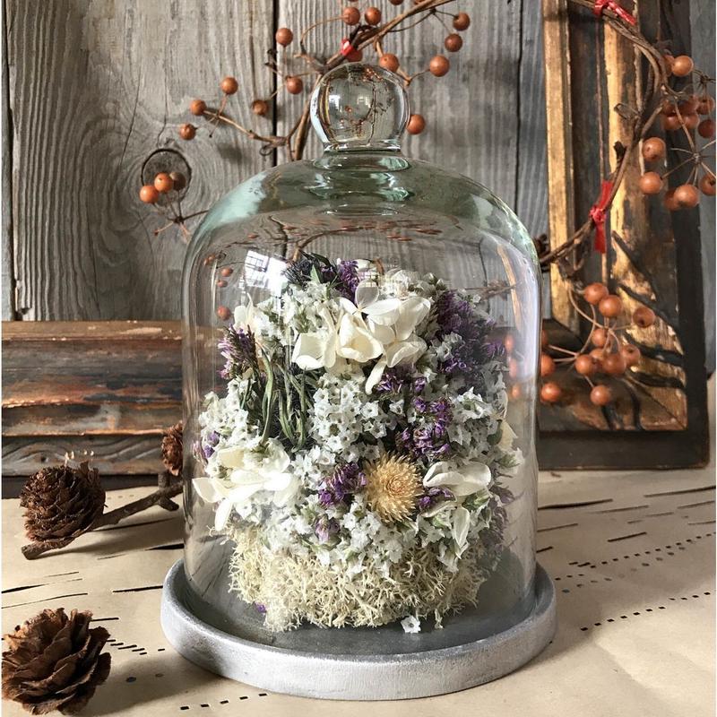 お花のガラスドーム(小)*パープル