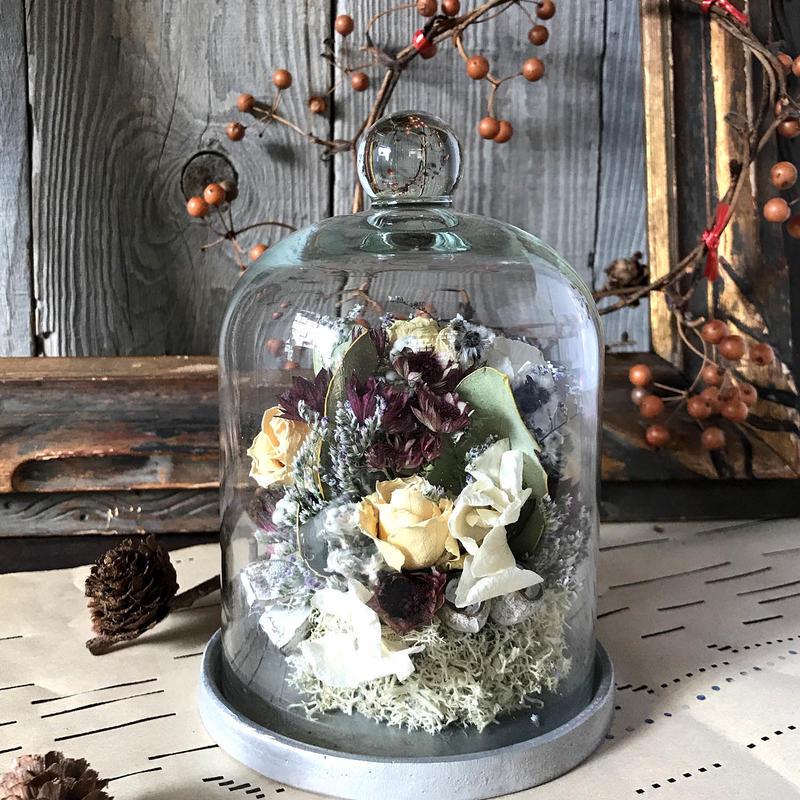 お花のガラスドーム(小)*ブラウン