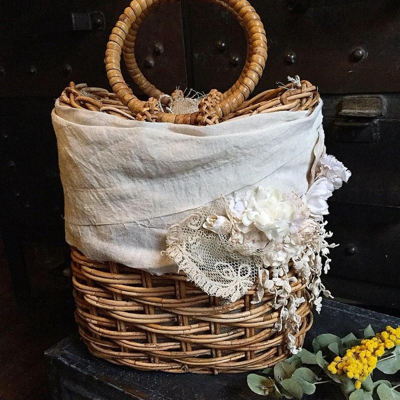 【限定数量】Lilaf アンティークレースとお花のカゴバッグ