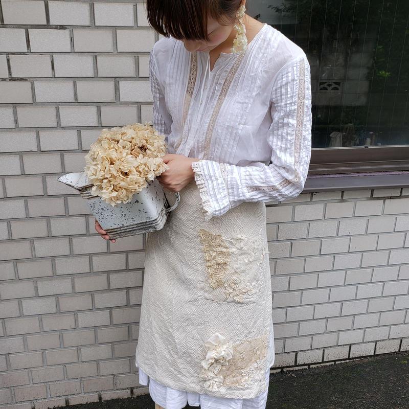 【一点限定】紅茶染めレースの巻きスカート*