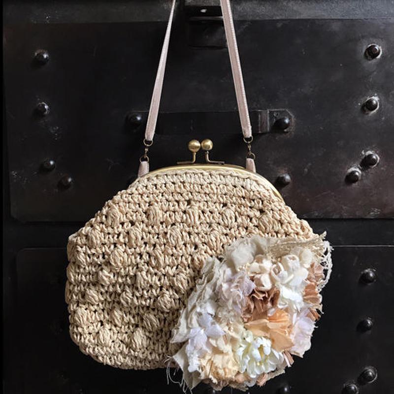 リネンとお花のラフィアbag*