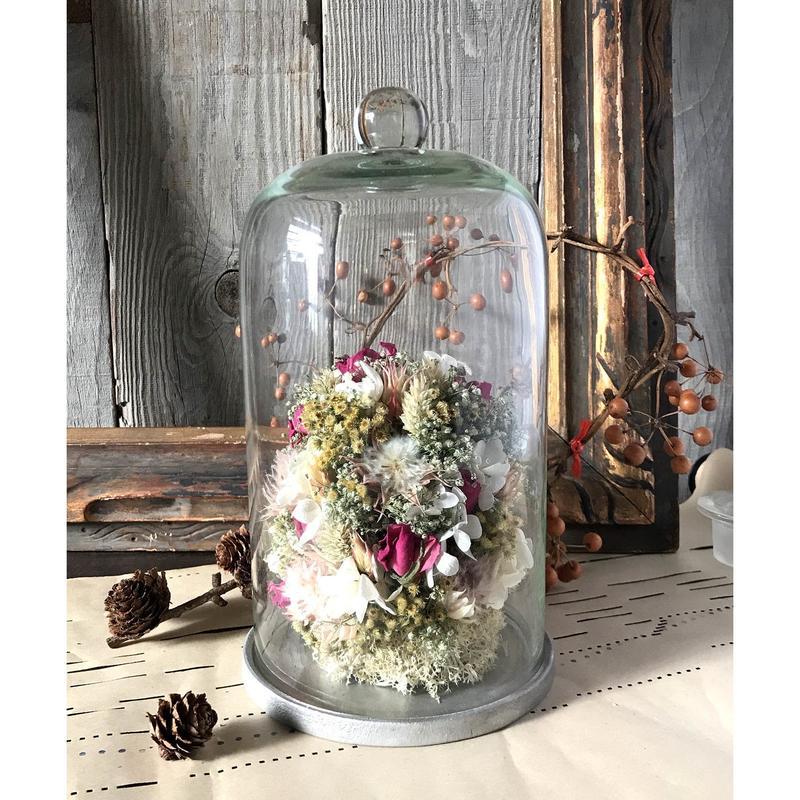 お花のガラスドーム(大)*ピンク