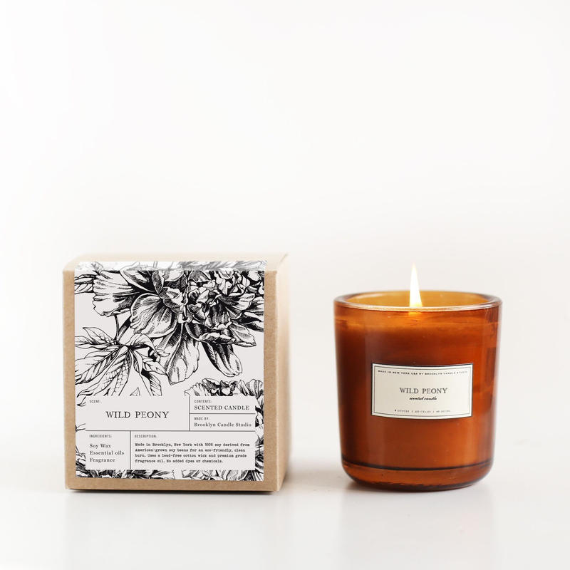 Wild Peony Amber Glass Candle