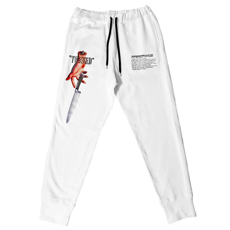 -TWISTED- SWEAT PANTS (WHT)