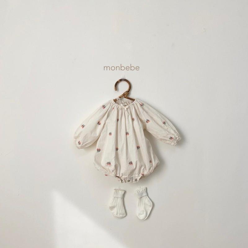 【即納】monbebe embroidery flowerロンパース